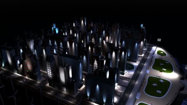 Digitální cg město osvětlení čisté energie