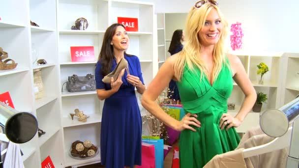 Caucasian Girlfriends Shopping Designer Outlet