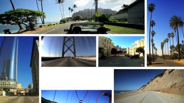montáž POV jízdy západním pobřeží usa