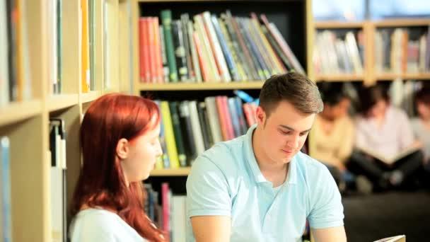 postgraduální studenti studují učebnice v knihovně