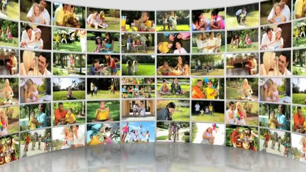 Montage 3D images of ethnic and Caucasian family