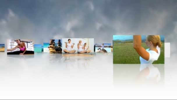 Montage 3D-Bilder Übung des yoga