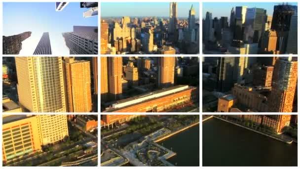 Montázs kilátás New York City és a Financial District