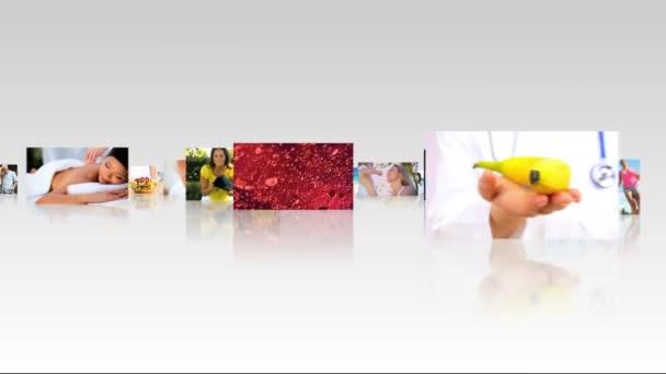 Montage 3d Tablet Fitness Bilder und gesundes Essen