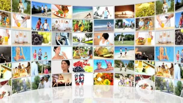 Montage 3D video wall of fitness images and healthy eating