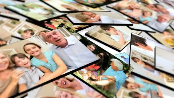 Montage 3D tablet of families using technology in the home