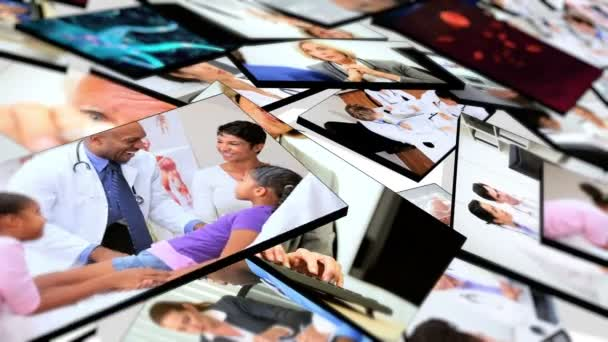 Montage 3D tablet of medical hospital doctors