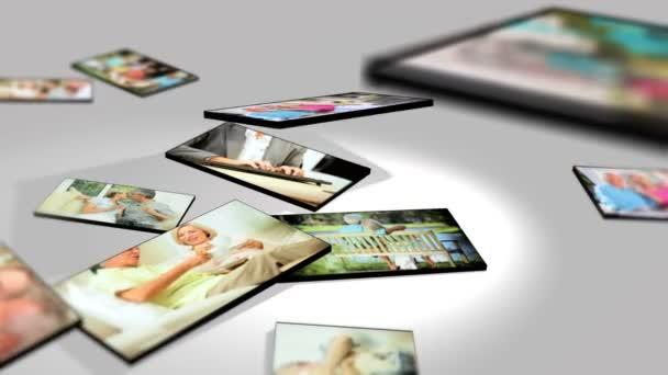 montáž 3d tabletu obrazy starší pár, kteří požívají okamžiky života