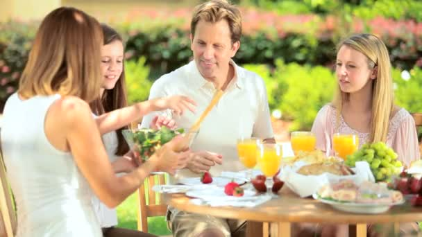 Family eating sensible healthy meal