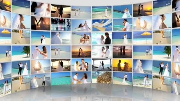Montage Caucasian Couple Tropical Beach Wedding and Honeymoon