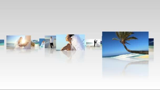 fotomontaggio insieme indoeuropeo coppia spiaggia nozze