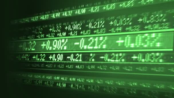obchodní údaje, jak je vidět na burze