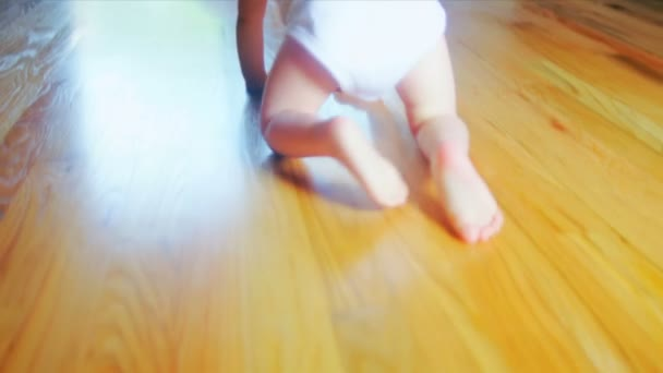 Smiling Baby Crawling Home Floor