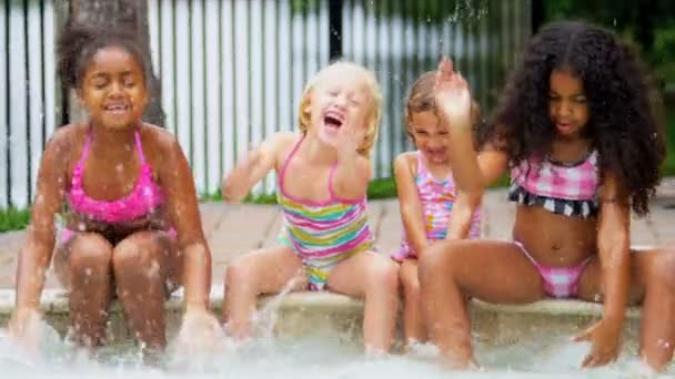 Happy Multi Ethnic Childhood Friends Swimming Pool