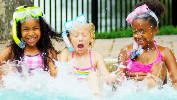 Laughing Little Girls Enjoying Swimming Pool Slow Motion