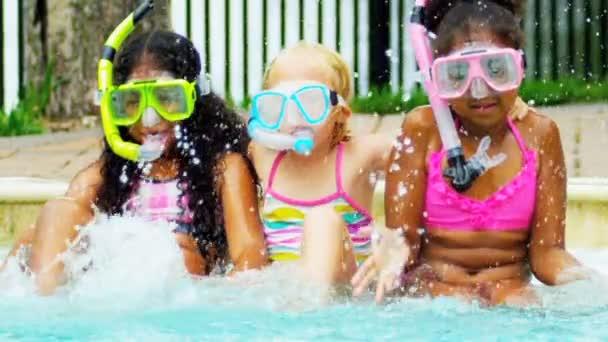 Slow Motion Multi Ethnic Girls Swimming Pool
