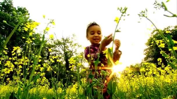 malá africká americká dívka hraje v poli