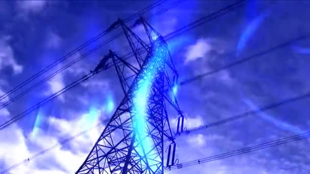 Time-lapse white clouds in blue sky behind electricity pylon