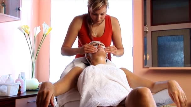 Beautiful brunette girl having facial massage at the beauty spa