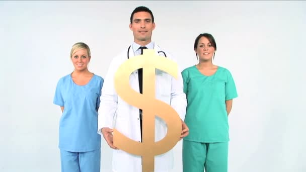 Medical team with dollar symbol on white background