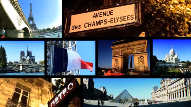 Montage of famous images from the city of Paris