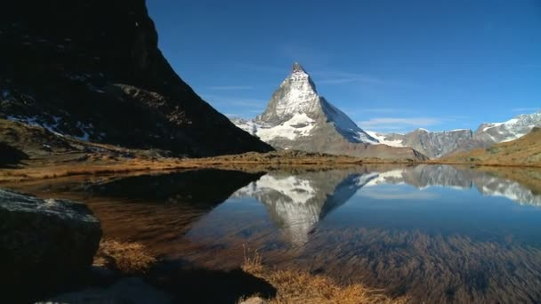 Matterhorn reflected in clear alpine lake, Switzerland