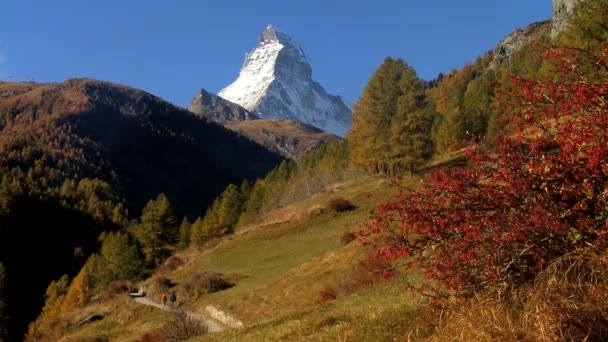 Fall in an alpine meadow Zermatt with hikers  the Matterhorn