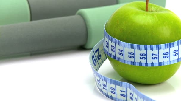 Studio close-up of fresh fruit  exercise aids for healthy living