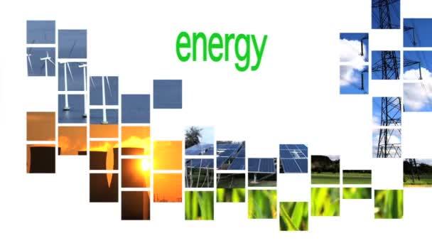collage di grafica di energia rinnovabile con testo