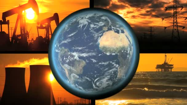Montage collection of fossil energy production with revolving earth graphic