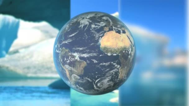 moving graphics of melting icebergs earth globe rotating stock