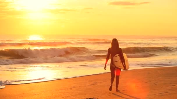 Young Surf Girl at Sunrise