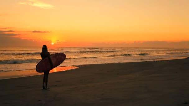 Surfer Girl at Sunrise