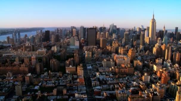 Panorama vrtulník pohled centra Manhattanu, ny, usa