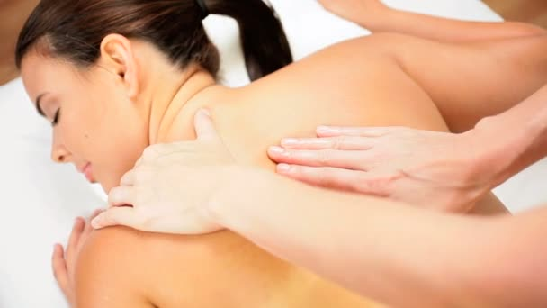 Beautiful Girl Receiving Body Massage Therapy