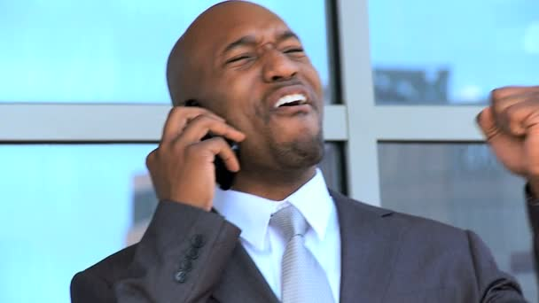 African American Businessman in Close up With Smartphone