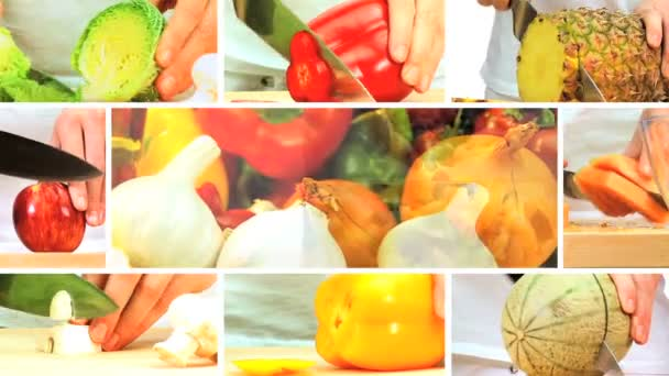 Montage of Fresh Fruit  Vegeatable Preparation