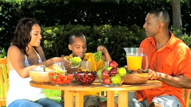 africká americká rodina zdravé stravování venku