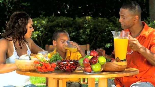 mladí etnických rodina si zdravý oběd venku