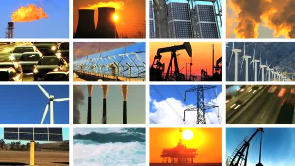 Montage of Clean Energy & Fossil Fuel Pollution — Stock Video ...