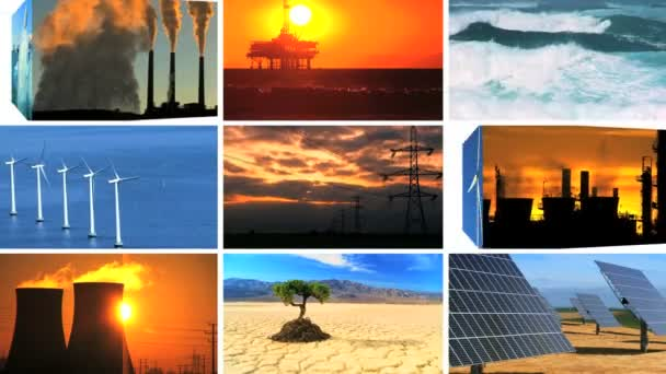 Montage Contrasting Effect of Clean Power  Fossil Fuel Pollution