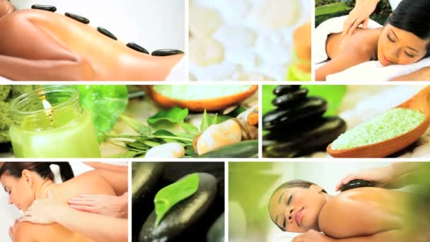 Montage of Multi Ethnic Females Enjoying Spa Treatment