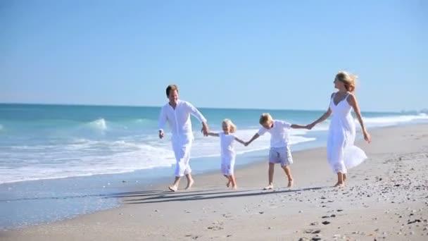 Family Running Fun on the Beach