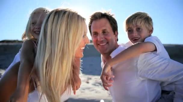 Caucasian Family Beach Fun