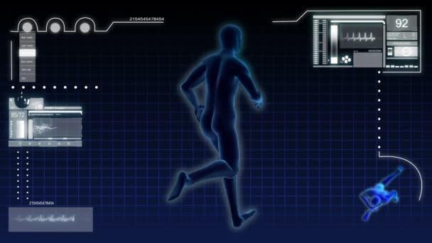 Digitální pohybu virtuální grafika 3d běžící muž