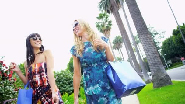 ragazze con la progettazione dello shopping tornando alla macchina