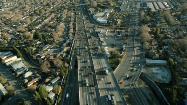 Aerial view of a freeway in the suburbs of San Francisco, USA