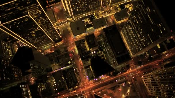 Aerial night vertical view of Skyscraper lights, USA