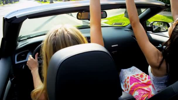 Friends Having Fun Driving Open Top Car