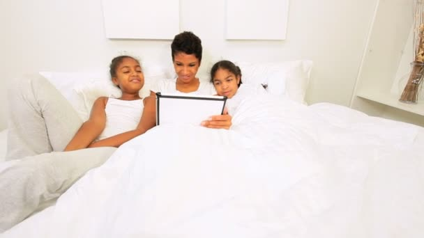 African American Girls Mother Wireless Tablet Home Bed